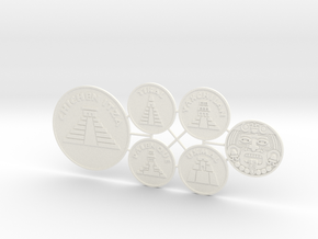 Mayan Pyramids and Calendar Center (6 pcs) - Discs in White Processed Versatile Plastic