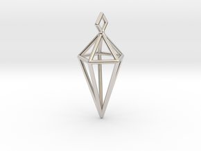 Geometric Necklace #L in Rhodium Plated Brass
