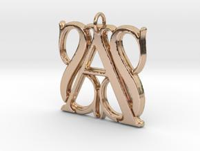 Monogram Initials SSA Pendant  in 14k Rose Gold