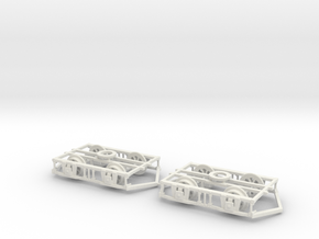 Blackpool Lancaster Bogies With Ploughs & Wheels in White Natural Versatile Plastic