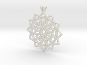 12 pointed star pendant in White Strong & Flexible