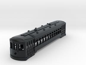 HO Scale 51' Standard Streetcar Body in Black Hi-Def Acrylate