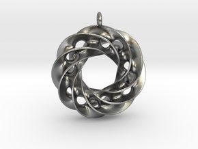 Twisted Scherk Linked 4,3 Torus Knots Pendant in Natural Silver