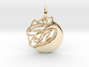 Astrology Zodiac Pisces Sign in 14k Gold Plated