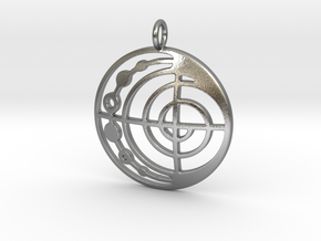 Abstract Pendant in Natural Silver