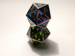 D20 Epoxy Dice in Polished Bronzed Silver Steel