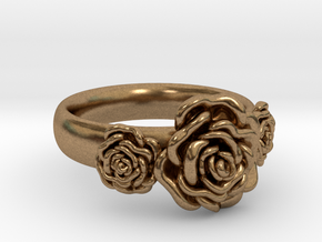 Wild Rose Ring in Natural Brass