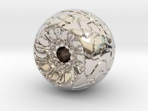 Ornamented Eyeball in Rhodium Plated Brass