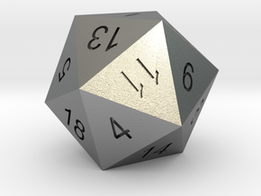 Classic d20 in Natural Silver