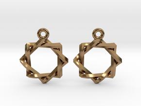 Penrose Melchizedek Symbol Earrings in Natural Brass