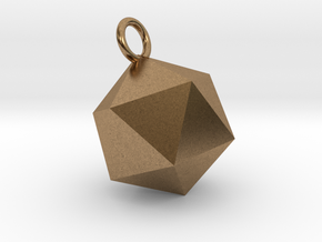 An Icosahedron Earring in Raw Brass