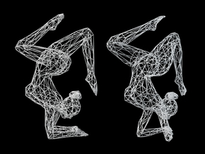Wireframe Dancer Girl 002 in White Natural Versatile Plastic: Large