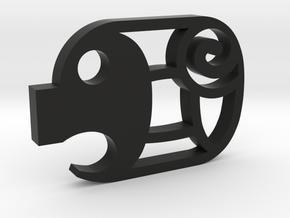 mini Piggy Cutlet Keychain in Black Natural Versatile Plastic