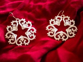 Filigree Star Earrings in White Processed Versatile Plastic