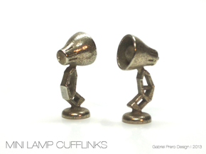 Mini Lamp Cufflink (order 2 for set) in Polished Bronzed Silver Steel