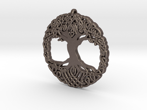 World tree in Polished Bronzed Silver Steel