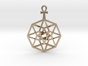 "TesserAnkh Pendant 1.5"" in Polished Gold Steel"