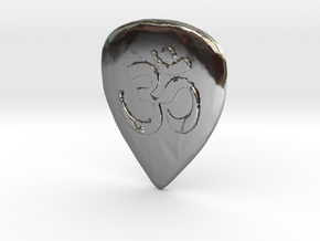 Ohm Guitar Pick in Fine Detail Polished Silver
