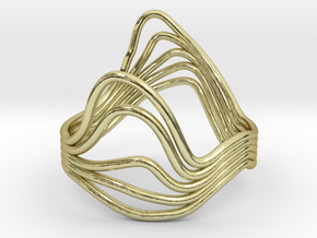 Timeline Ring - Wire Wave Ring - Size 19mm in 18k Gold Plated Brass
