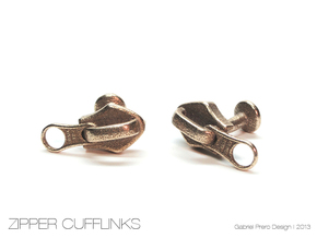 Zipper Cufflinks in Polished Bronzed Silver Steel