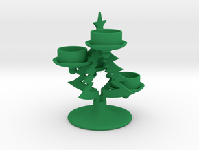 Christmas Tree Candle Holder in Green Strong & Flexible Polished