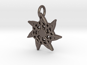 Seven-Pointed Snowflake in Polished Bronzed Silver Steel