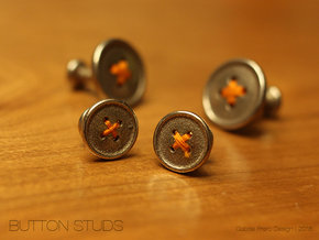 Button Tuxedo Stud - SINGLE in Polished Bronzed Silver Steel