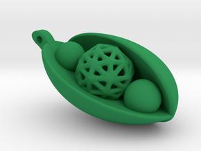 Good Luck Snowpea Pendant in Green Processed Versatile Plastic: Small