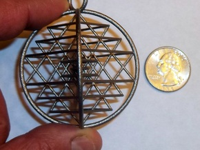 3D Sri Yantra Symmetrical in Polished Nickel Steel