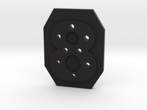 8-hole 8 Sided Number 8 Button in Black Natural Versatile Plastic