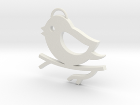 Bird on a Branch Pendant in White Natural Versatile Plastic