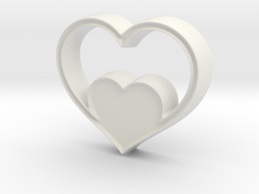 Two Hearts in One Pendant - Amour Collection in White Natural Versatile Plastic