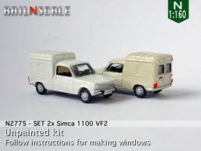 SET 2x Simca 1100 VF2 (N 1:160) in Smooth Fine Detail Plastic