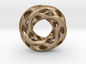 0610 IsoSurface F(x,y,z)=0 Diamond Tori [4] d=5cm in Matte Gold Steel