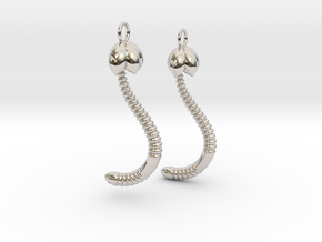 """Life of a worm"" Part 4 - ""Baby worm"" earrings in Platinum"