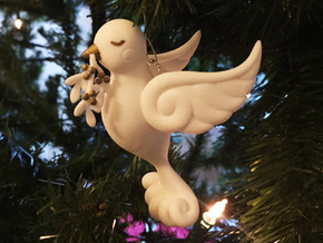 Dove Ornament in White Natural Versatile Plastic