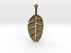 Leaf Pendant in Natural Bronze