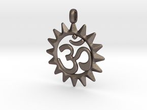 OM Symbol Jewelry Pendant in Polished Bronzed Silver Steel