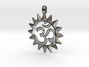OM Symbol Jewelry Pendant in Fine Detail Polished Silver