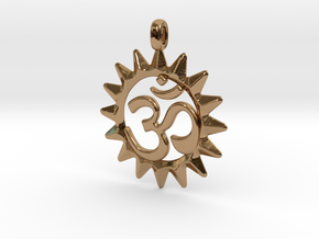 OM Symbol Jewelry Pendant in Polished Brass
