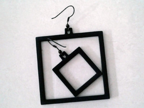 Square Earrings - Asymmetrical in Black Natural Versatile Plastic