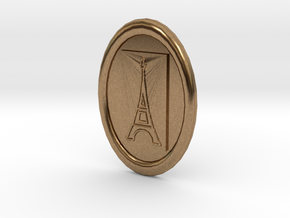 Oval Eiffel Tower Button in Natural Brass