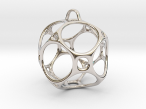 Christmas Bauble No.1 in Rhodium Plated Brass