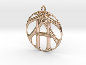 Monogram Initials TTA Pendant in 14k Rose Gold