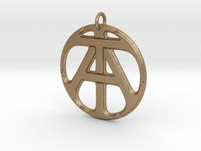 Monogram Initials AT Pendant in Matte Gold Steel
