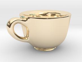 Teacup Bracelet Charm in 14k Gold Plated Brass