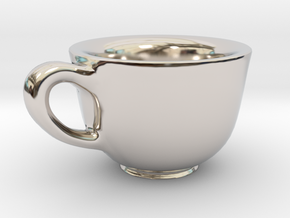 Teacup Bracelet Charm in Rhodium Plated Brass