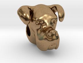 Boxer Dog Bracelet Charm in Natural Brass