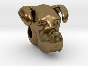 Boxer Dog Bracelet Charm in Natural Bronze