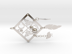 White-throated Hill Partridge in Rhodium Plated Brass: Large